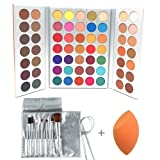 Beauty Glazed 63 Colors Eyeshadow Professional Makeup 63 Colors EyeShadow Palette Powder With Profession Makeup Brushes Set and Powder Blender Gorgeous Me Cosmetics Perfect Color Eye Shadow Tray Set (Color: 63 colors, Tamaño: 63 colors)