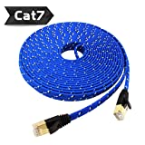 Nylon Cat 7 Ethernet Cable 65Ft, Tanbin Cat7 RJ45 Network Patch Cable Flat 10 Gigabit 600Mhz Lan Wire Cable Cord Shielded for Modem, Router, PC, Mac, Laptop, PS2, PS3, PS4, XBox 360 Blue (Color: 65Ft, Tamaño: 65 feet)