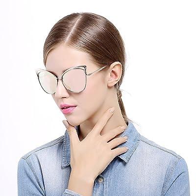 Sunny&Love Women Oversized Cat Eye Sunglasses Mirror Eyewear With Case 2