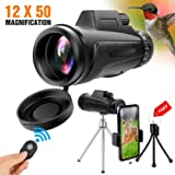 Yesker Monocular Telescope, 12x50 High Power HD Dual Focus Optics BAK4 Prism Waterproof Anti-Fog Monocular for Hiking, Fishing, Hunting, Bird Watching, Travelling and Other Outdoor Activities (Color: Black)