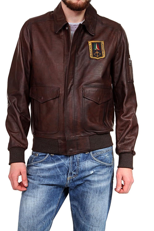 Aeronautica Militare Herren Blouson Lederjacke , Farbe: Dunkelbraun bestellen