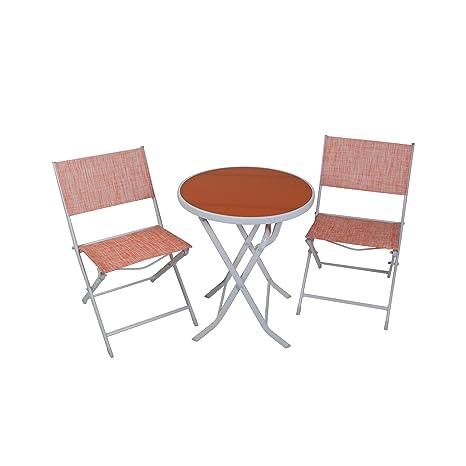 greemotion Balkon-Set 120288, bestehend aus 2 x Stuhl und 1 x Tisch, alle Teile der Sitzgruppe lassen sich zusammenklappen, Balkonsitzgruppe mit Stahlgestell und 4x4 Textilene, Gartentisch mit Sicherheitsglasplatte, Maße des Tisches: ca Durchmesser