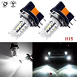 (2) Super Bright White 6000K 80W H15 CREE LED Bulbs Lamps for Audi BMW Benz VW Daytime Running Lights DRL