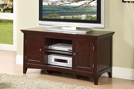Plasma TV Stand with Doors in Brown Finish