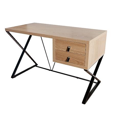 Design Schreibtisch HERITAGE Eiche mit zwei Schubladen Burotisch Tisch Office