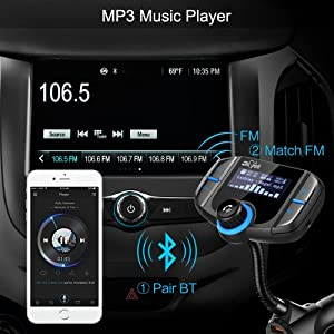 Bluetooth FM Transmitter, Bligli Wireless Radio Adapter Hands-Free Car Kit with 1.7 Inch LCD Display Screen, QC3.0 and 2.4A Dual USB Ports, AUX Input/Output, TF Card Mp3 Player (Color: Black03)