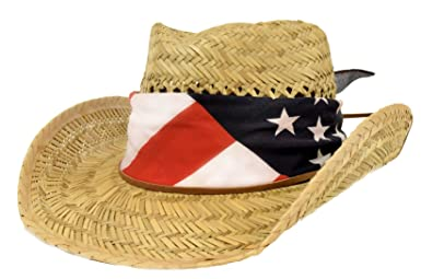56cddd53056 Peter Grimm Brand Natural Color Straw Cowboy Hat with Black around the Top  and Edges Copper Tone Metal Stars on Patriotic Band of Cowboy Hat So  Patriotic!