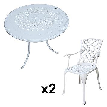 Lazy Susan - Table ronde 80 cm ANNA et 2 chaises de jardin - Salon de jardin en aluminium moulé, Blanc (chaises EMMA)