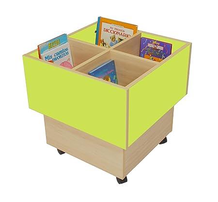 Mobeduc 602103HR13 libreria-Secchio per bambini, in legno, colore: verde mela/legno naturale, 60 x 60 x 60 cm