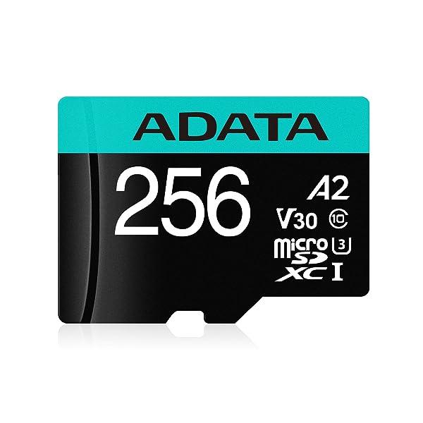 ADATA 256GB Premier Pro microSDXC/SDHC UHS-I Memory Card with Adapter - C10, U3, V30, 4K, A2, Micro SD - AUSDX256GUI3V30SA2-RA1 (256GB) (Tamaño: 256GB)
