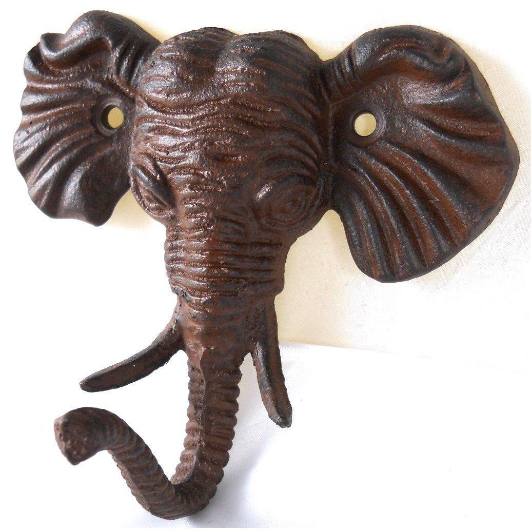 cast iron wall mount male elephant head hook coat hat key