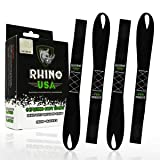 RHINO USA Soft Loop Motorcycle Tie Down Straps - Guaranteed 10,427lb Max Break Strength, Heavy Duty Tiedown Loops for Secure and Confident Trailering of Motorcycles, Dirtbikes, ATV, UTV (Black 4-Pack) (Color: Black Ice)