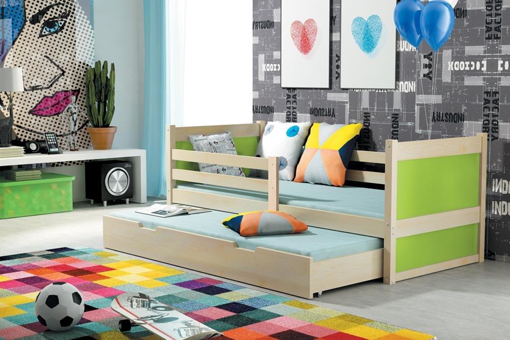 Kinderbett Holzbett RICO 2 Farbe Kiefer 160×80 ausziehbar Massiv Kiefer mit Matratze + Lattenrost inkl.