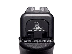 FIXXXER Rear Cover Plate for Glock (Dont Tread on Me Design) Fits Most Models (Not G42, G43) and Generations (Not Gen 5)