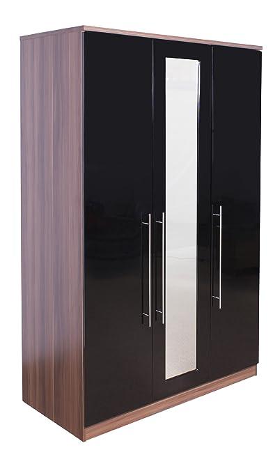 Superior High Quality Ultra Gloss Black & Walnut 3 Door Mirrored Triple Wardrobe