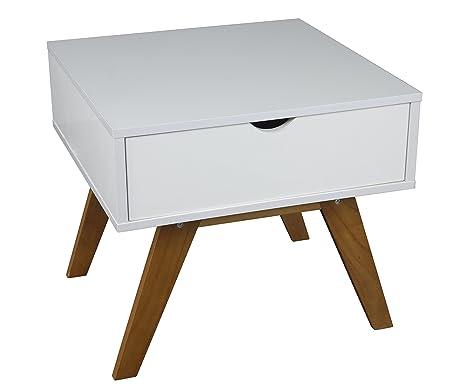 Teléfono de la mesa de con un cajón de madera de colour blanco 55 x 50 cm de noche mesita de noche de consola mesa auxiliar de cómoda de aparador diseño Schränckchen acolchada para de diseño retro de aspecto, New