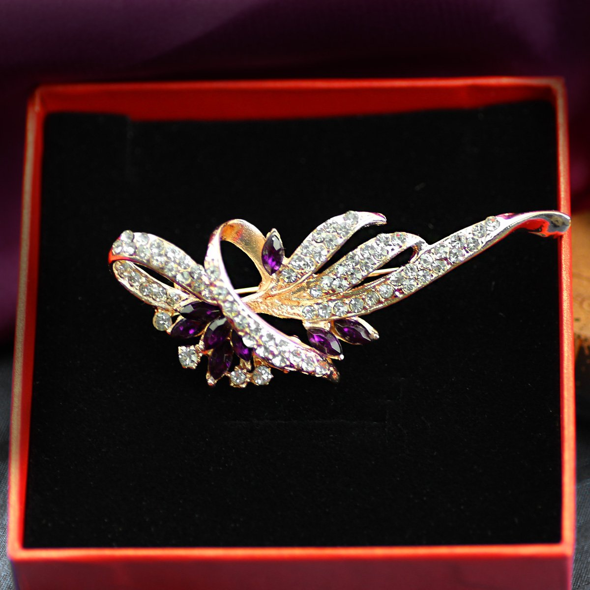 Merdia Created Crystal Brooches for Women Fancy Vintage Style Brooch Pin,Purple color 4