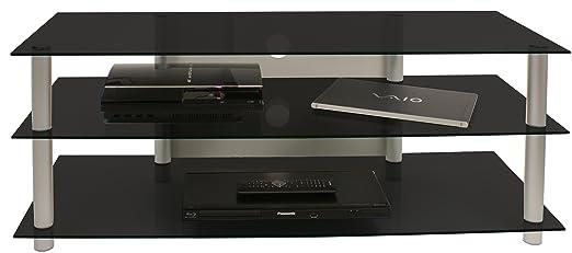 VCM Zumbo 110 - Mueble para TV, color plata y cristal de color negro