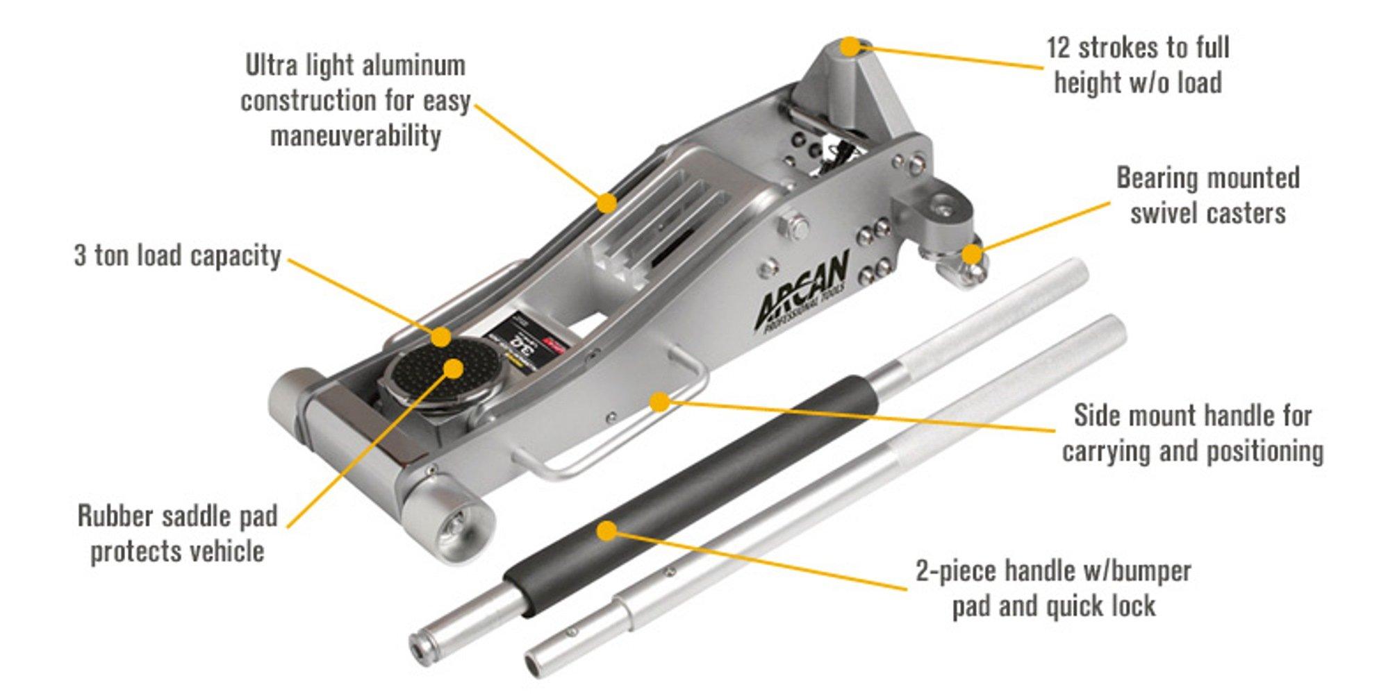 Arcan Alj3t Aluminum Floor Jack 3 Ton Capacity 3 Ton Arcan