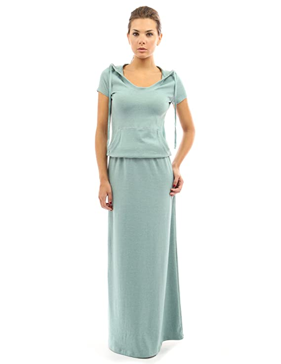 PattyBoutik Women's Hoodie Pocket Maxi Dress