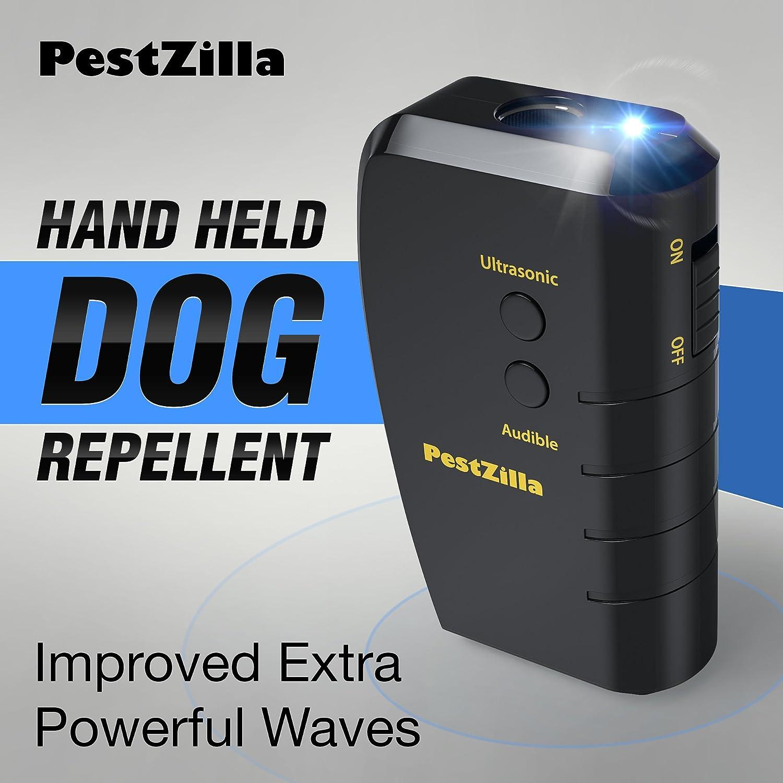 PestZilla™ Dog Repellent and Trainer + LED Flashlight / Handheld Ultrasonic Dog Deterrent and Bark Stopper + Dog Trainer Device