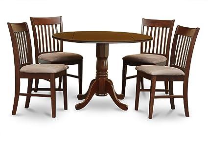 East West Furniture DLNO5-MAH-C 5-Piece Kitchen Table Set, Mahogany Finish