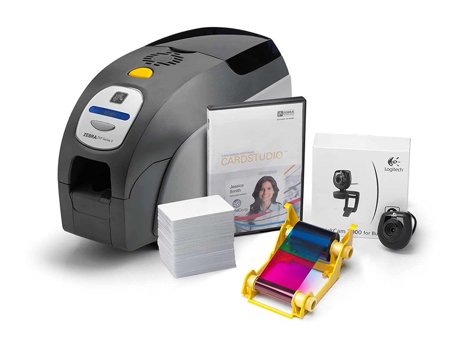 "Zebra Z32-0000D200US00 QuikCard ID Solution ZXP Series 3 ID Card Printer, Single- and Dual-Sided Cards, Monochrome or Color, 300 dpi, 9.3"" H x 7.9"" W x 14.5"" D"