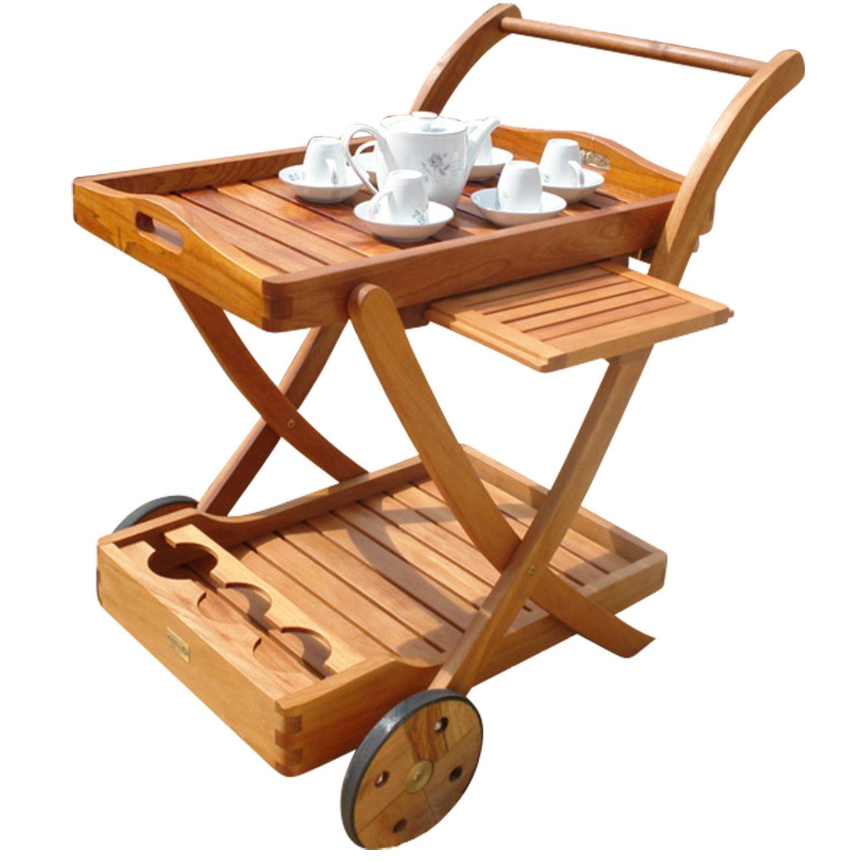 indoba® IND-70004-SW – Serie Sun Flair – Servierwagen aus Holz FSC zertifiziert – mit Rädern, Tablett abnehmbar günstig online kaufen
