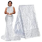 pqdaysun 5 Yards African Net Lace Fabrics Nigerian French Fabric Embroidered and Rhinestones Guipure Cord Lace F50378 (White) (Color: white, Tamaño: 5 yards)