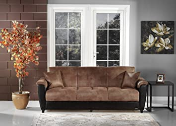 Aspen Mocha Vinyl Convertible Sofa Bed by Sunset