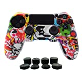 PS4 Controlle Grip,Hikfly Skin Silicone Gel Controller Cover Case Protector Compatible for PS4/PS4 Slim/PS4 Pro Controller (1x Controller cover with 8 x FPS Pro Thumb Grip Caps)(White Cartoon)