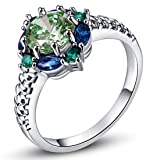 Psiroy 925 Sterling Silver Green Amethyst Filled Ring Flower Shaped Band (Color: Green)