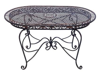 Table de jardin 135cm table en fer meubles de jardin brun style
