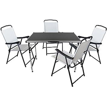 5er Set Camping Sitzgruppe Sitzgarnitur Klapptisch 100x60cm + 4x Klappstuhle mit Textilengewebe Schwarz/Creme