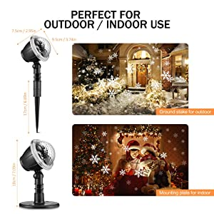 Snowfall LED Light Projector, 2019 Upgrade Christmas Snowflake Projection Lamp Waterproof Snow Flurries Landscape Spotlight with Remote Control for Xmas Halloween Party Wedding and Garden Indoor Decor (Color: Black, Tamaño: 6.2 x 5.2 x 4.8 inches)