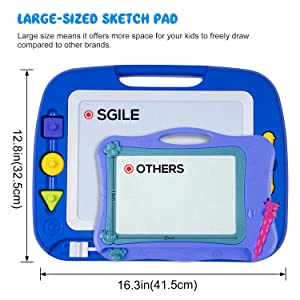 SGILE Magnetic Drawing Board Toy for Kids, Large Doodle Board Writing Painting Sketch Pad, Blue (Color: Blue)
