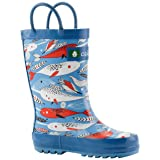 Oakiwear Kids Rubber Rain Boots with Easy-On Handles, Narwhals, 13T US Toddler