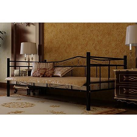 Anself Metallbett Bett Einzelbett Tagesbett Bettgestell Gästebett mit 200 x 90 cm Matratze Schwarz