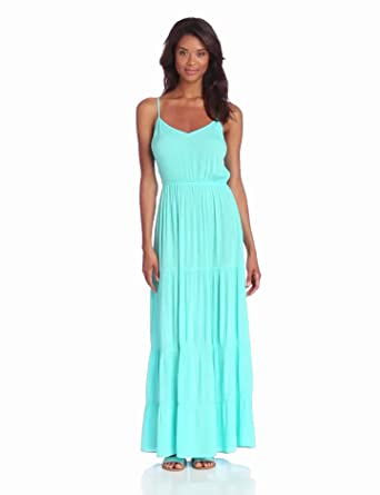 eight sixty Women's Tiered Gauze Maxi Dress, Blue Jewel, X-Small
