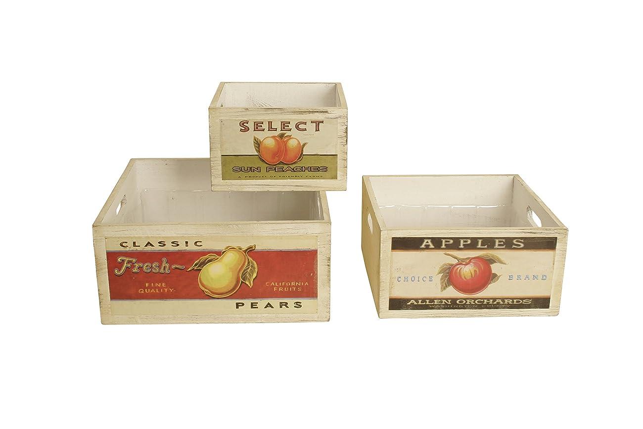 Wald Imports Square Vintage Fruit Wood Crates (Set of 3), Natural, 10.25