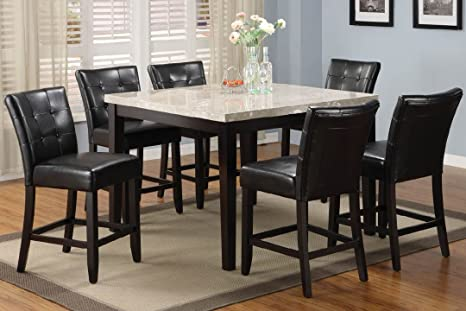 Square Counter Height Table with Marble Top in Espresso Finish by Furniture of America