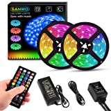 LED Strip Lights with Remote - 32.8ft RGB LED Light Strip Music Sync for Room Lighting, 12V SMD 5050 Color Changing Tape Lights kit with LED Controller, Flexible Waterproof LED Strip for Home Kitchen (Color: Rgb (Red, Green, Blue))