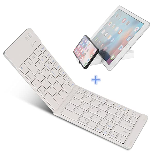 Bluetooth Folding Keyboard, IKOS Ultra Slim Pocket Size Foldable Keyboard For iOS/Android / Windows, iPad Mini, iPad Pro, iPhone, Smartphones, Windows, Smart TV, Tablets, With Rechargable Battery (Color: Foldable Bluetooth Keyboard, Silver)