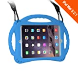 [New Design]TopEs iPad Mini Case Kids Shockproof Handle Stand Cover&(Tempered Glass Screen Protector) for iPad Mini, Mini 2, Mini 3 and iPad Mini Retina Models (Blue) (Color: Blue)