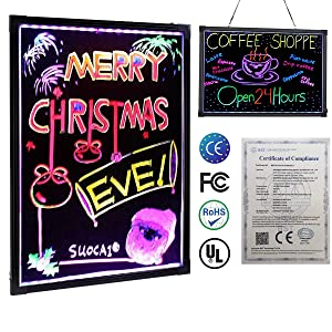 Sensory LED Message Writing Board Kids Drawing Painting Boards Light up Dry Erase Sign Board with 8 Chalk Marker & Remote Control for Advertising & Education (Color: 40*30cm)