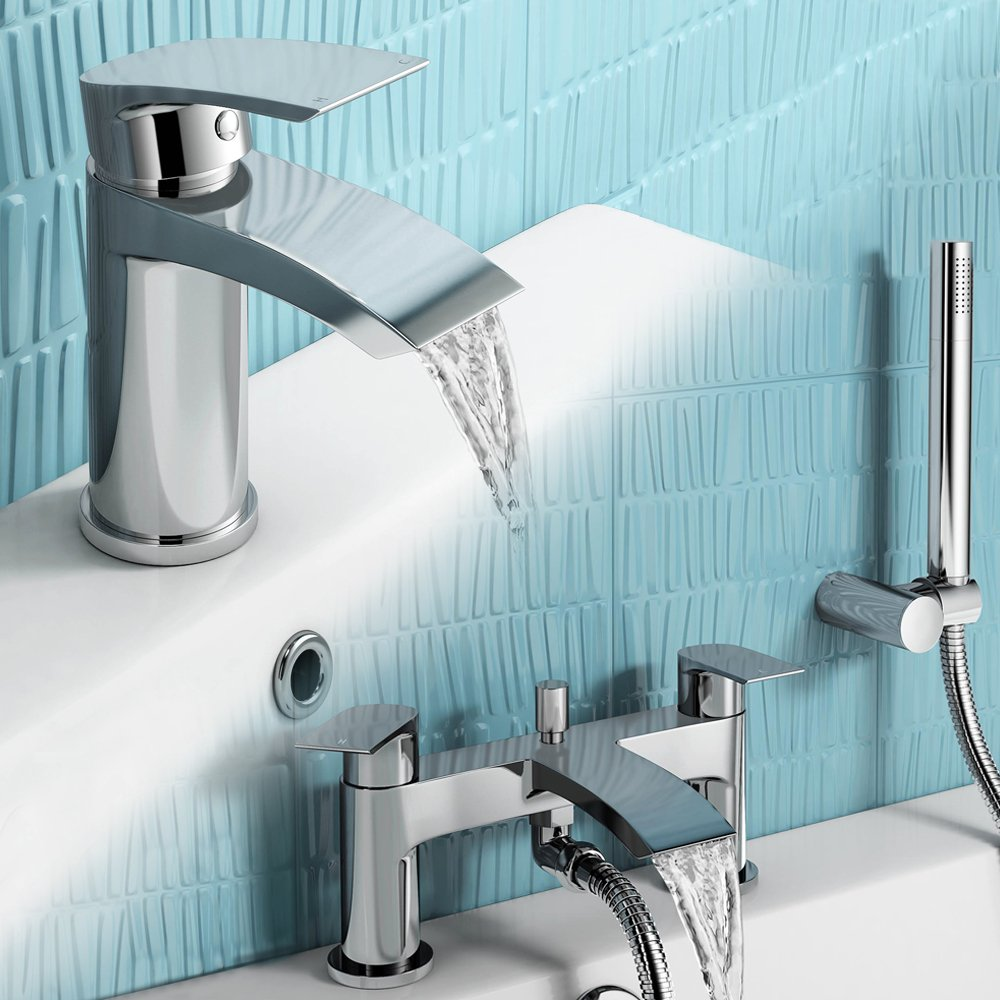 Tall Monobloc Basin Sink Mixer Tap + Bath Filler with Hand Held Shower Head Set  iBath       reviews and more information