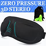 AMAZKER Lightweight Upgraded Contoured & Comfortable Sleep Mask & Ear Plugs Includes Carry Pouch for Eye Mask and Ear Plugs - For Sleeping, Travel, Shift Work & Meditation for Men and Women