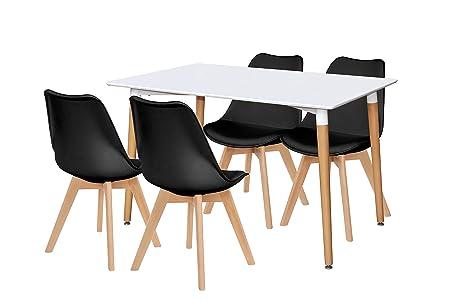 Lote de mesa Kiel 120 + 4 sillas Wooden negras