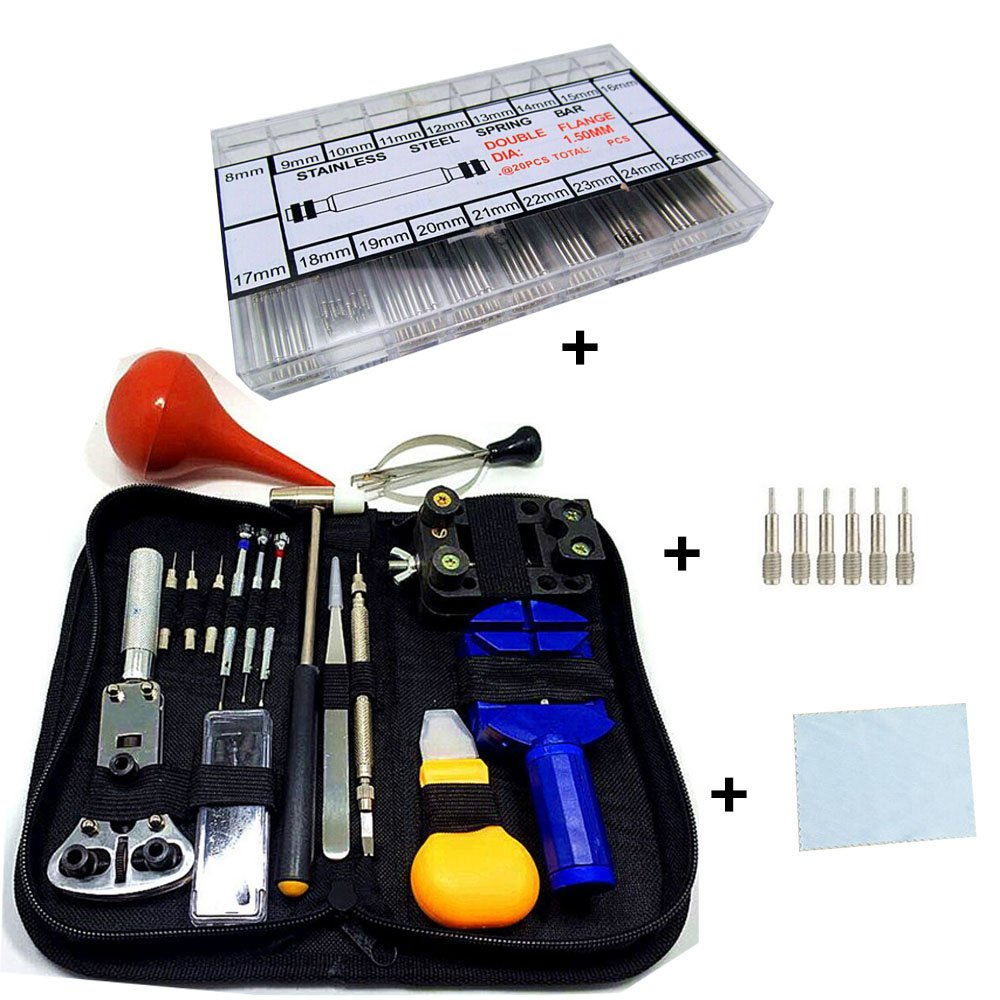 EsmartD Professional Watch Repair Tools Set with Case Resizing Kit Band Link Pins Parts Knife and Wrench