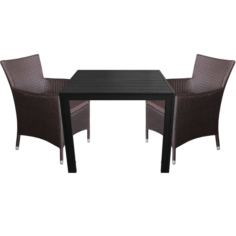 3tlg. Gartengarnitur Aluminium Gartentisch 90x90cm mit Polywood Tischplatte Polyrattan Gartensessel inkl. Sitzkissen Braun